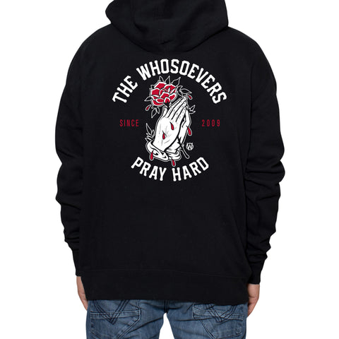 Pray Hard Rose Zip-Up Hooded Sweatshirt | Black