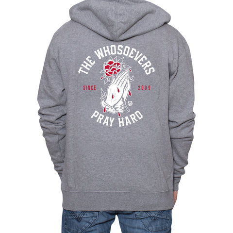 Pray Hard Rose Zip-Up Hooded Sweatshirt | Gunmetal Heather