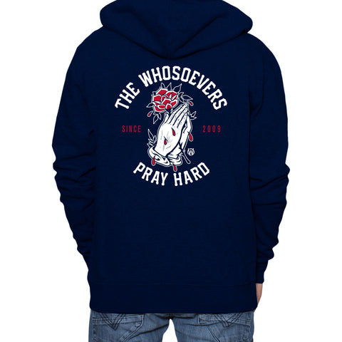Pray Hard Rose Zip-Up Hooded Sweatshirt | Navy