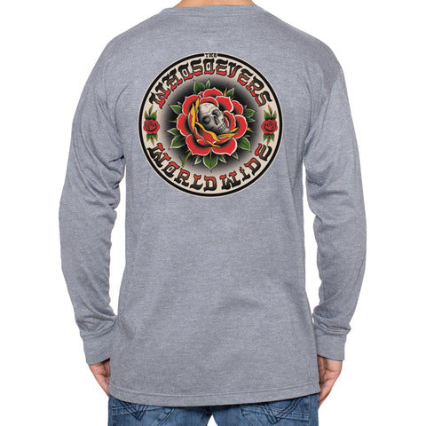 Skull Rose Premium Long Sleeve T-Shirt | Heather Grey