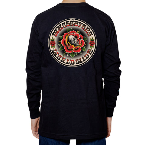 Skull Rose Premium Long Sleeve T-Shirt | Black
