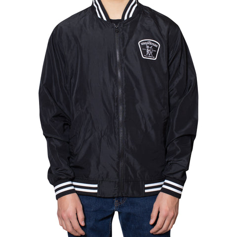 Fully Committed Bomber Windbreaker Jacket | Black/White