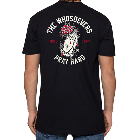 Pray Hard Rose Premium T-Shirt | Black