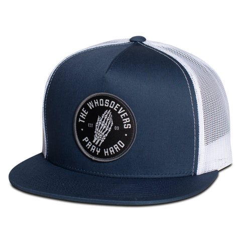 Pray Hard Trucker Hat | Navy/White