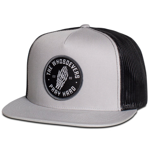 Pray Hard Trucker Hat | Silver/Black