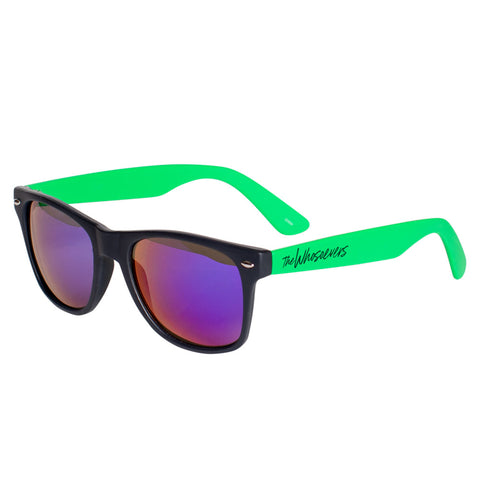 W Script Sunglasses | Black/Green