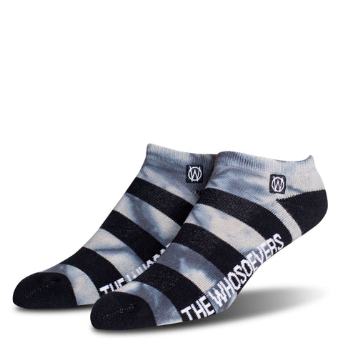 Stripe Low Ankle Sock | Black/Charcoal Heather Tie Dye