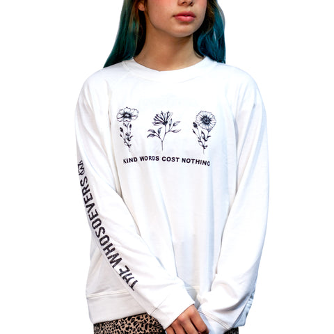 Womens Kind Words Cost Nothing Crew Sweatshirt| Ivory