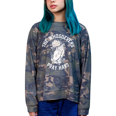 Womens Pray Hard Crew Sweatshirt | Camouflage