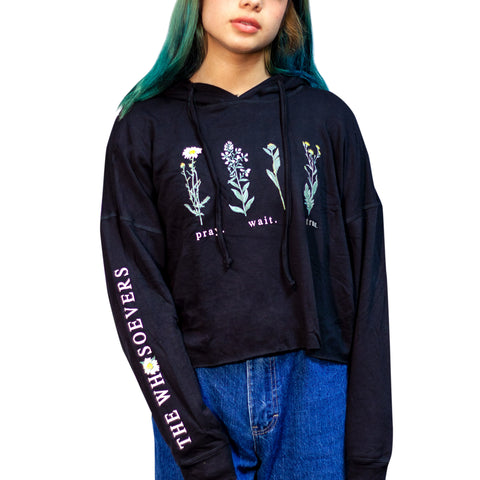 Womens Botanical Hooded Sweatshirt| Black