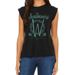 Women Rose Muscle Tee | Black