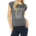Womens Rose Muscle Tee | Dark Grey Heather