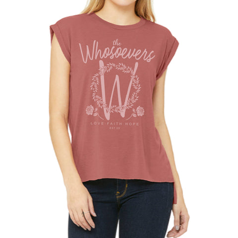Womens Rose Muscle Tee | Mauve