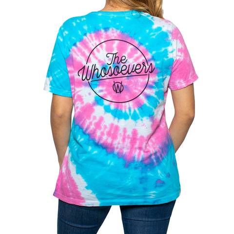 Womens Written Tee | Blue/Pink Tie Dye
