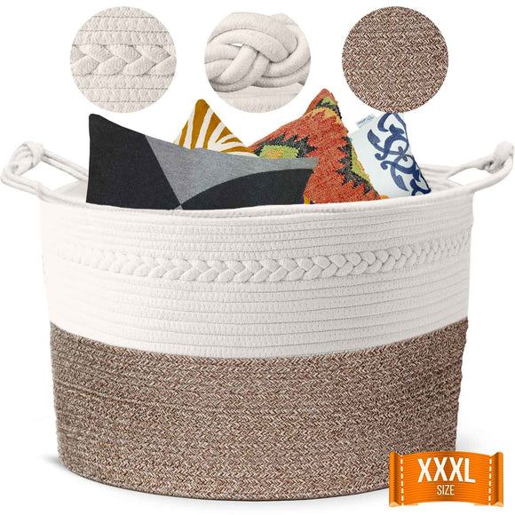 Piper and Olive Large Woven Basket - Large Baskets for Blankets