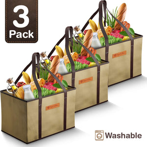 Piper and Olive Reusable Grocery Shopping Bags - Beige - Set of 3