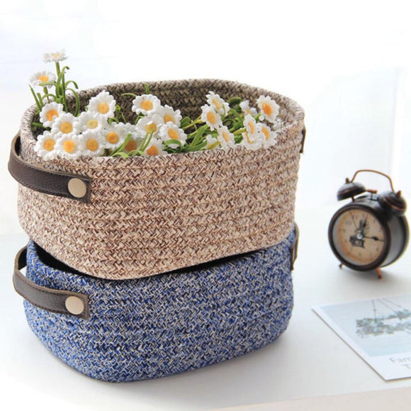 Home Storage Basket Cotton Woven Finishing Basket Elegant Ins Leather Handle Cotton Rope Garden Storage Box