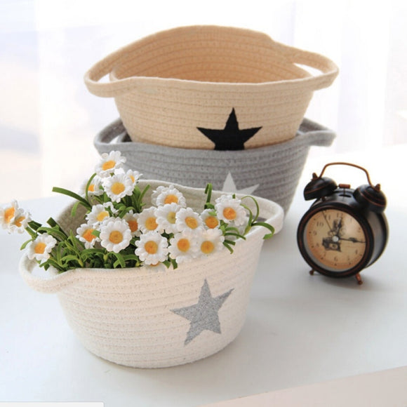Nordic Elegant Five-pointed Star Cotton Rope Storage Box Washable Laundry Storage Basket Handcraft Household Sundries