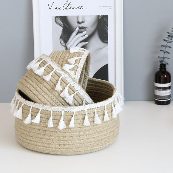 New Hot Retro Cotton Rope Tassel Storage Basket Household Woven Storage Basket Metal Color Laundry Basket Home Decoration