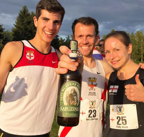 Polly Keen, Andy Norman, and John Tayleur England Beer Mile