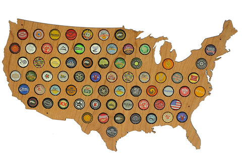 USA Beer Bottle Cap Map United States