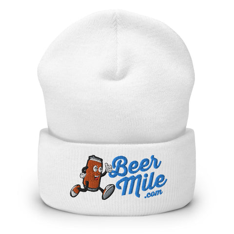 BeerMile.com Beanie-Hats-The Beer Mile-White-The Beer Mile