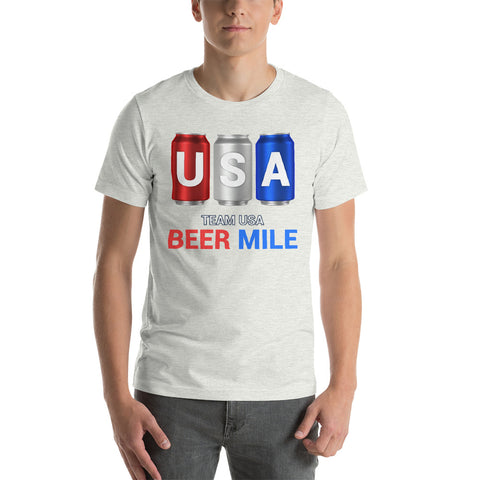 Team USA Beer Mile Cans T-Shirt-Shirts-The Beer Mile-Ash-S-The Beer Mile