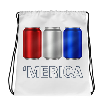 'Merica Red, White, and Blue Beer Cans Drawstring bag-Bags-The Beer Mile-The Beer Mile