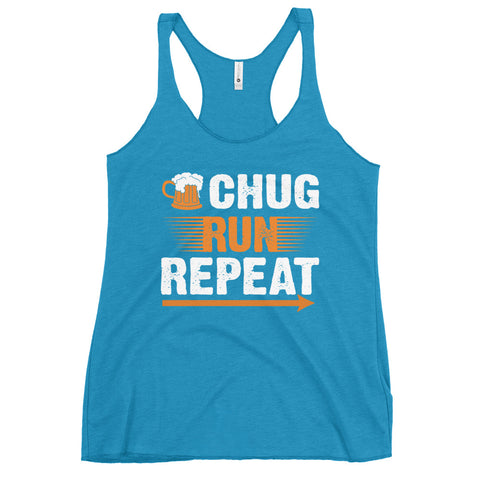 Chug Run Repeat Women's Racerback Tank-Tanks-The Beer Mile-Vintage Turquoise-XS-The Beer Mile