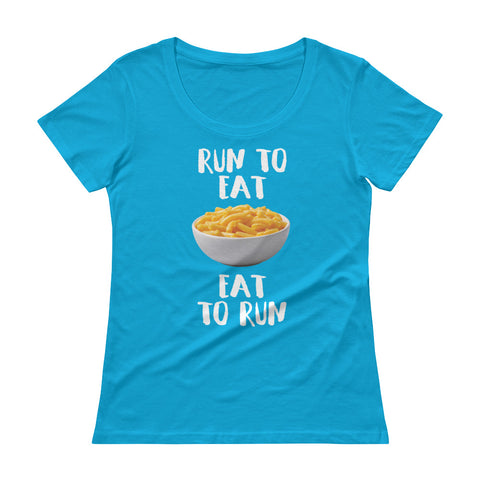 Run to Eat, Eat to Run Ladies' Scoopneck T-Shirt-Shirts-The Beer Mile-Caribbean Blue-XS-The Beer Mile
