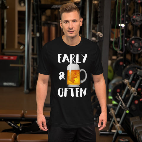 Early & Often Drinking Shirt-Shirts-The Beer Mile-Black-XS-The Beer Mile