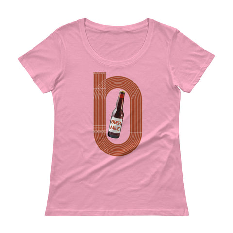 Beer Mile Track Womens Scoopneck T-Shirt-Shirts-The Beer Mile-CharityPink-XS-The Beer Mile