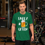 Early & Often Drinking Shirt-Shirts-The Beer Mile-Kelly-S-The Beer Mile