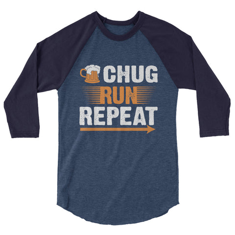Chug Run Repeat 3/4 sleeve raglan shirt-Shirts-The Beer Mile-Heather Denim/Navy-XS-The Beer Mile