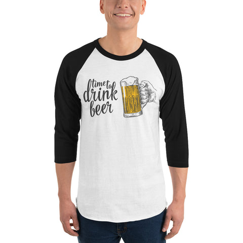 Time to Drink Beer - 3/4 sleeve raglan drinking shirt-Shirts-The Beer Mile-White/Black-XS-The Beer Mile