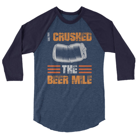 I Crushed The Beer Mile 3/4 Sleeve Raglan Shirt-Shirts-The Beer Mile-Heather Denim/Navy-XS-The Beer Mile