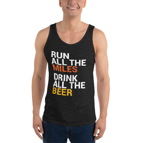 Run all the Miles, Drink all the Beer Tank Top-Tanks-The Beer Mile-Charcoal-black Triblend-XS-The Beer Mile