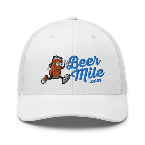 Beermile.com Trucker Snapback Cap-Hats-The Beer Mile-White-The Beer Mile