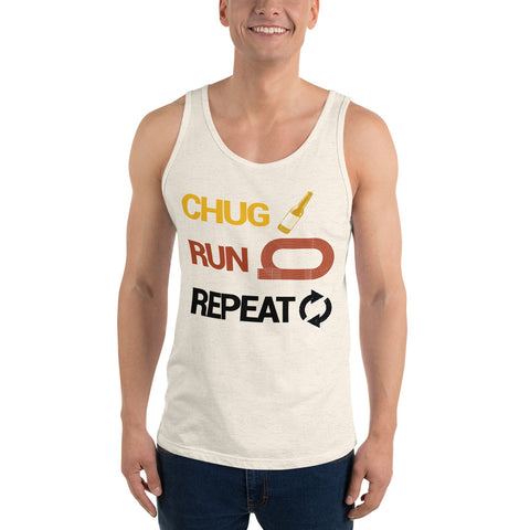 Chug Run Repeat Beer Mile Tank-Tanks-The Beer Mile-Oatmeal Triblend-XS-The Beer Mile