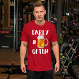 Early & Often Drinking Shirt-Shirts-The Beer Mile-Red-S-The Beer Mile
