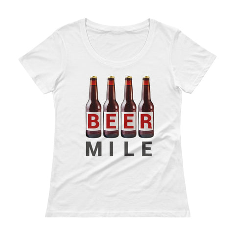 Beer Mile Bottles Ladies' Scoopneck T-Shirt-Shirts-The Beer Mile-White-XS-The Beer Mile