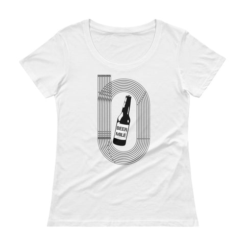 Beer Mile Track Vintage Black and White Women's Scoopneck T-Shirt-Shirts-The Beer Mile-White-XS-The Beer Mile