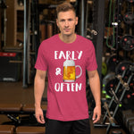 Early & Often Drinking Shirt-Shirts-The Beer Mile-Heather Raspberry-S-The Beer Mile