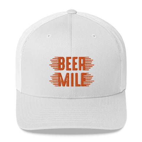 Beer Mile Trucker Cap-Hats-The Beer Mile-White-The Beer Mile