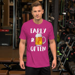 Early & Often Drinking Shirt-Shirts-The Beer Mile-Berry-S-The Beer Mile