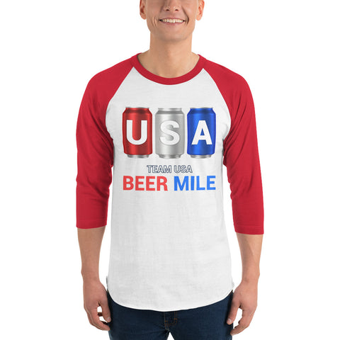 Team USA Beer Mile Cans - 3/4 sleeve raglan shirt-Shirts-The Beer Mile-White/Red-XS-The Beer Mile
