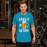 Early & Often Drinking Shirt-Shirts-The Beer Mile-Aqua-S-The Beer Mile