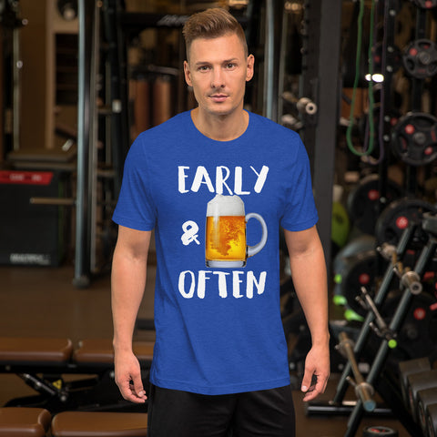 Early & Often Drinking Shirt-Shirts-The Beer Mile-Heather True Royal-S-The Beer Mile