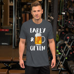Early & Often Drinking Shirt-Shirts-The Beer Mile-Asphalt-S-The Beer Mile