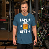 Early & Often Drinking Shirt-Shirts-The Beer Mile-Heather Deep Teal-S-The Beer Mile